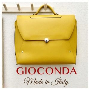 GIOCONDA Bold Yellow Briefcase Made in Italy AS IS